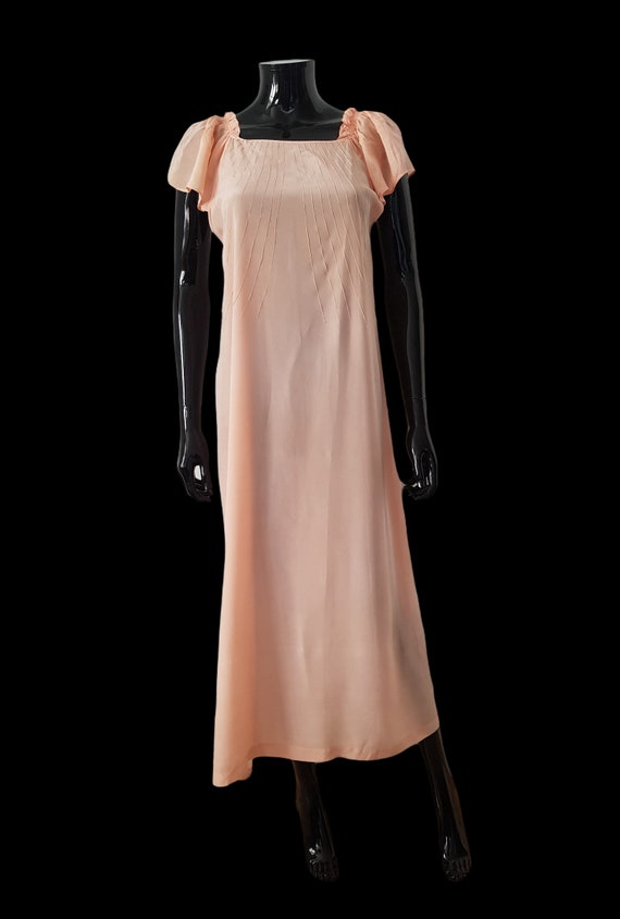 1930s French peach silk dress Flutter Sleeves - image 2
