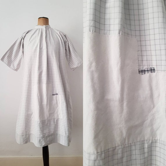 1930s French workwear smock shirt dress patched re