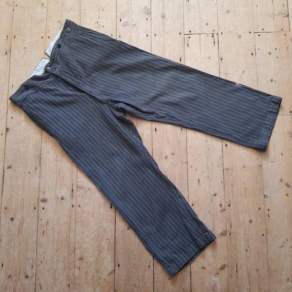 1940s French Salt Pepper Grey Stripe Workwear Tro… - image 1