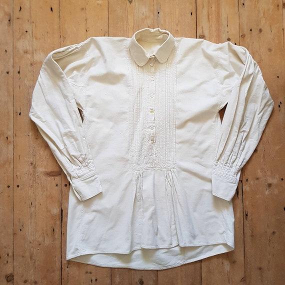 1930s Hungarian natural linen smock shirt blouse E