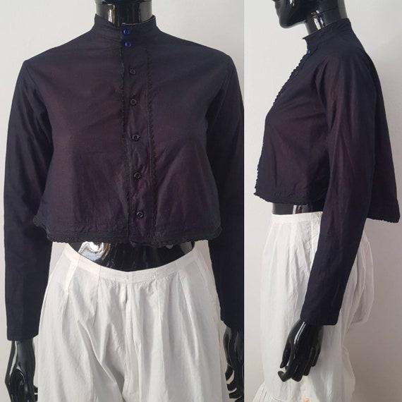 1930s Hungarian Indigo Blouse Jacket Glass Buttons