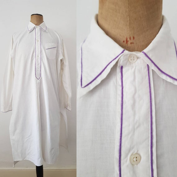 1930s French White Cotton Dress Shirt Purple Trim