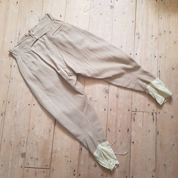 1940s French Workwear Breeches Chore Pants Button… - image 5