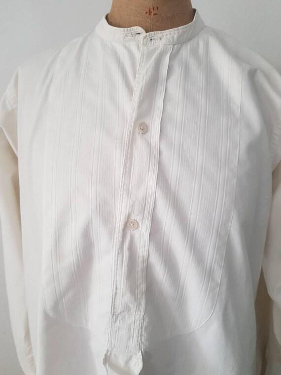 Antique French White Cotton Dress Shirt Long Line… - image 3