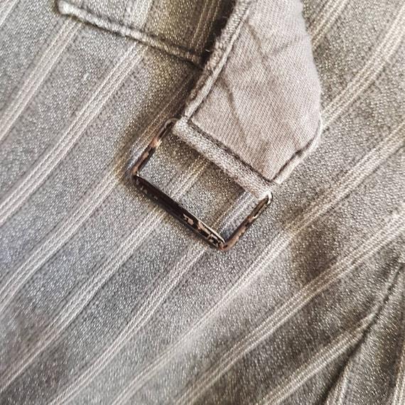 1940s French Salt Pepper Grey Stripe Workwear Tro… - image 6
