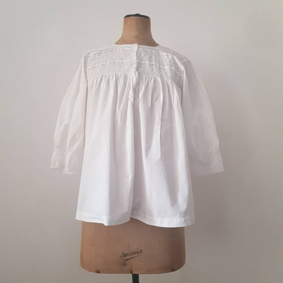 Antique 1910s French White Cotton Blouse Embroider