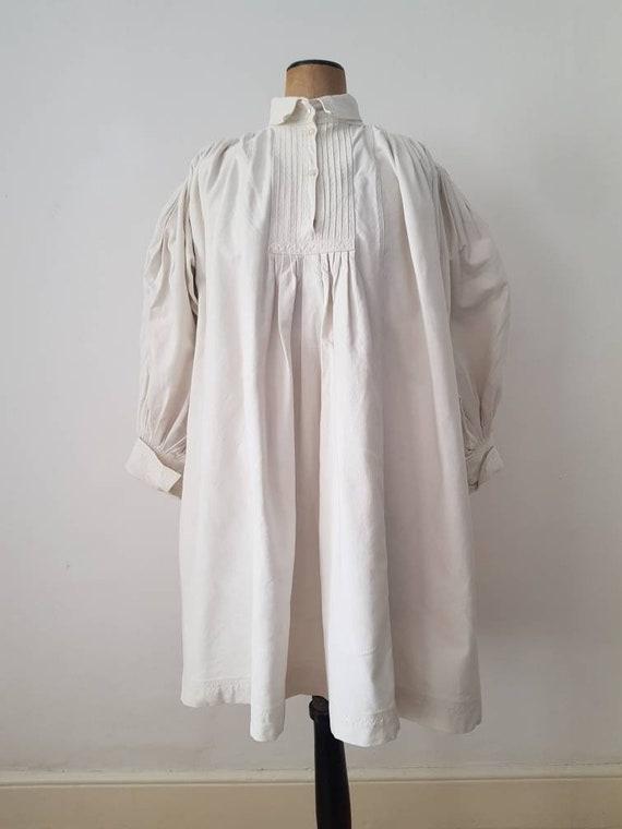 Romanian Linen Smock 1930s Pleats Embroidery Shirt
