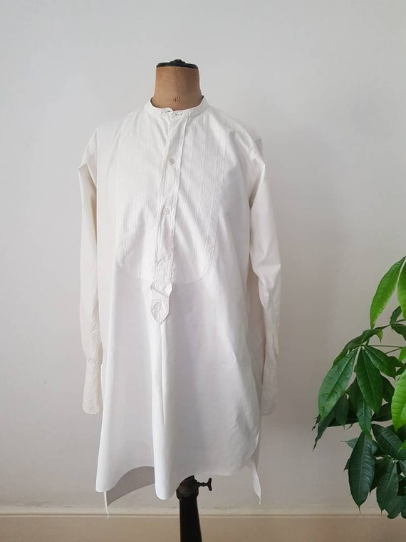 Antique French White Cotton Dress Shirt Long Line… - image 1