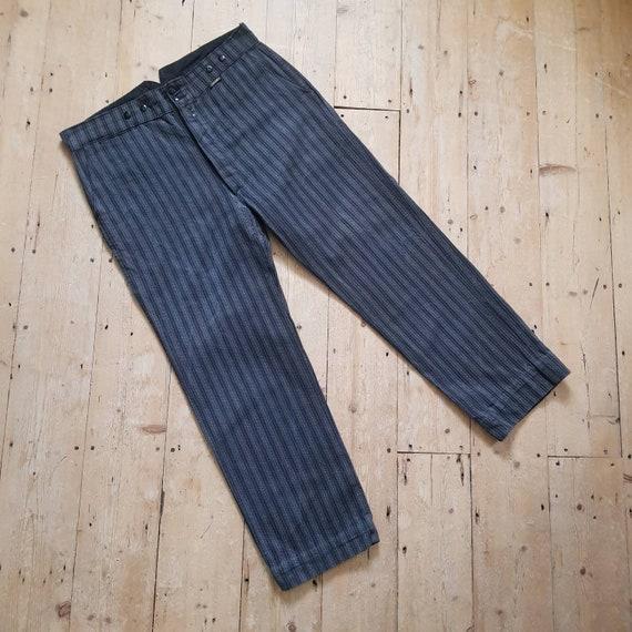 1950s French Salt Pepper Grey Stripe Workwear Trou