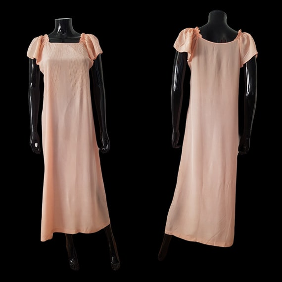 1930s French peach silk dress Flutter Sleeves