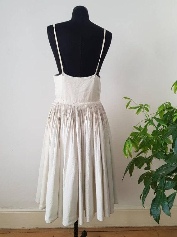 1930s Slovakian Natural Linen Pleated Folk Dress E