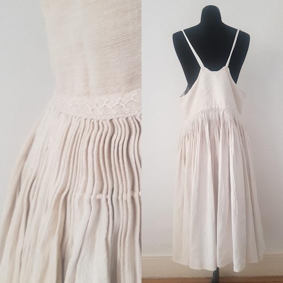 1930s Slovakian Linen Pleated Pinafore Dress Under