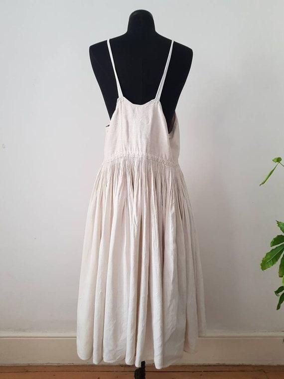 1930s Slovakian Natural Linen Dress Eastern Europe