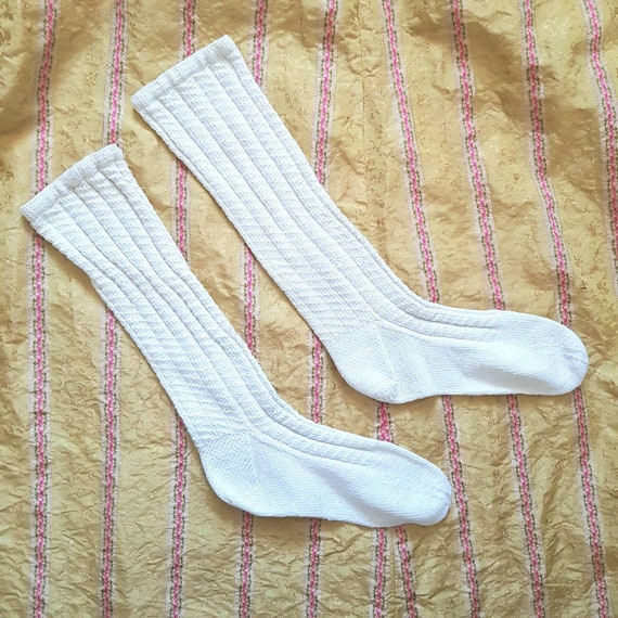 Antique French White Knitted Cotton Socks