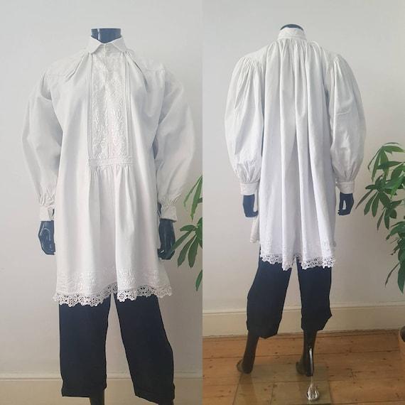 1930s Romanian White Linen Embroiderd Smock Shirt