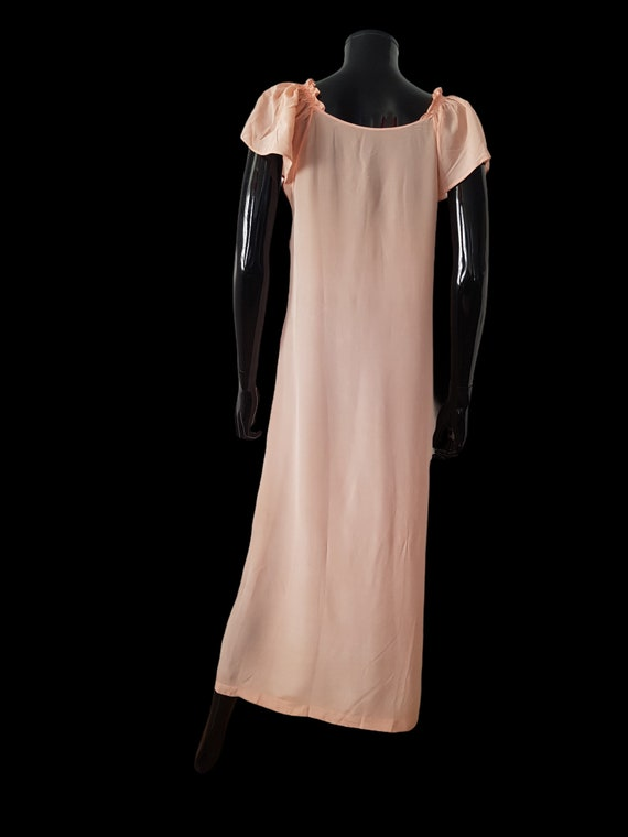 1930s French peach silk dress Flutter Sleeves - image 3