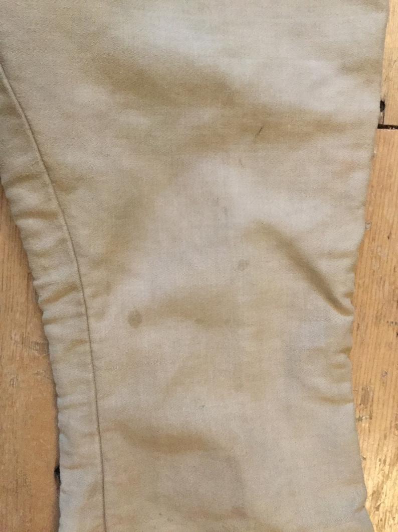 1940s French Cream Moleskin Trousers High Waist RARE Colour Leg Piping Workwear Bootcut S