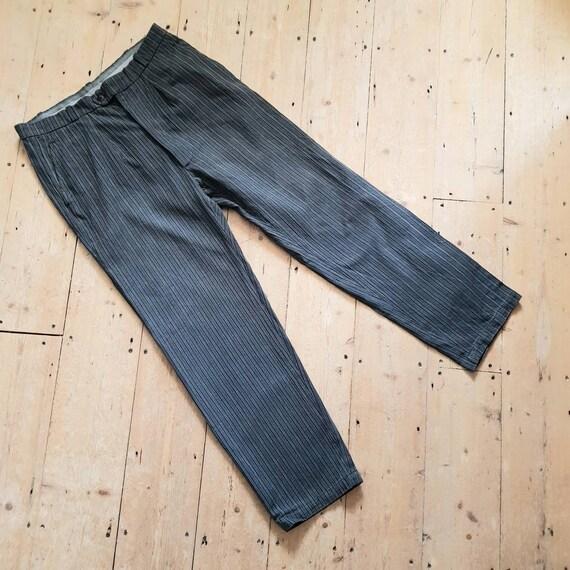 1940s French Grey Stripe Workwear Trousers Salt Pe