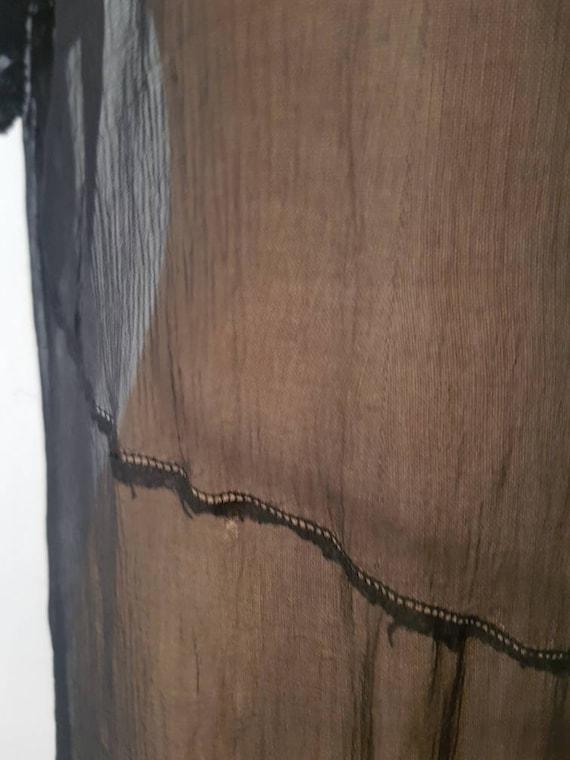 1920s Sheer Black Silk Dress Beaded Tunic Slip XS - image 9