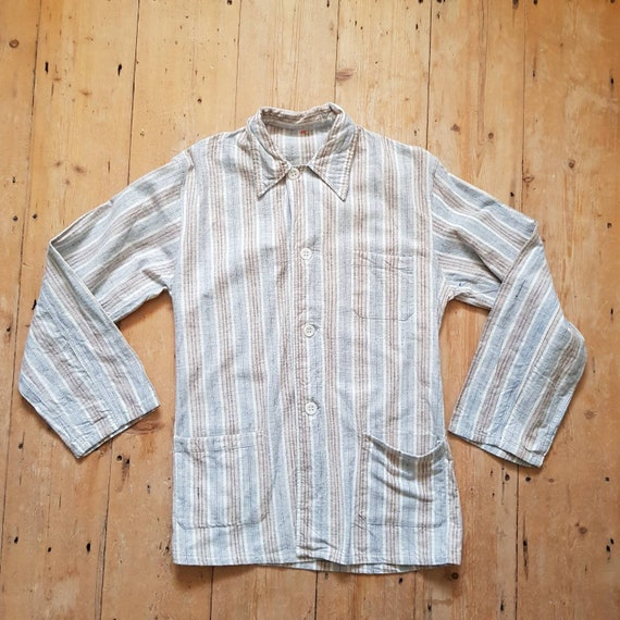 1950s French Stripe Pyjamas Set Shirt Pants Trouse