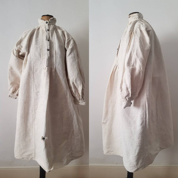 Romanian linen smock shirt dress natural linen pea