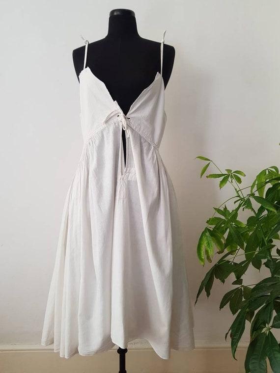 1930s Slovakian White Cotton Folk Dress Eastern Eu