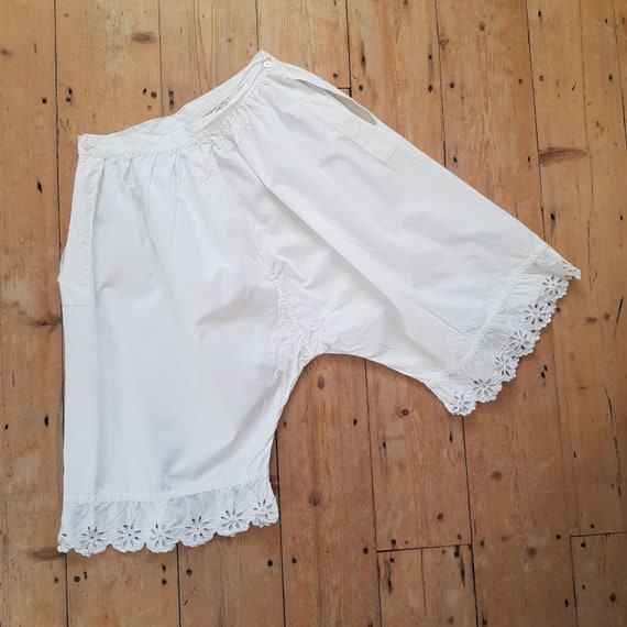 Antique French white cotton bloomers embroidered e