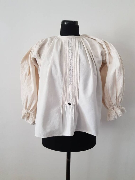 Romanian Folk Blouse Linen Stripe Sleeves Crochet