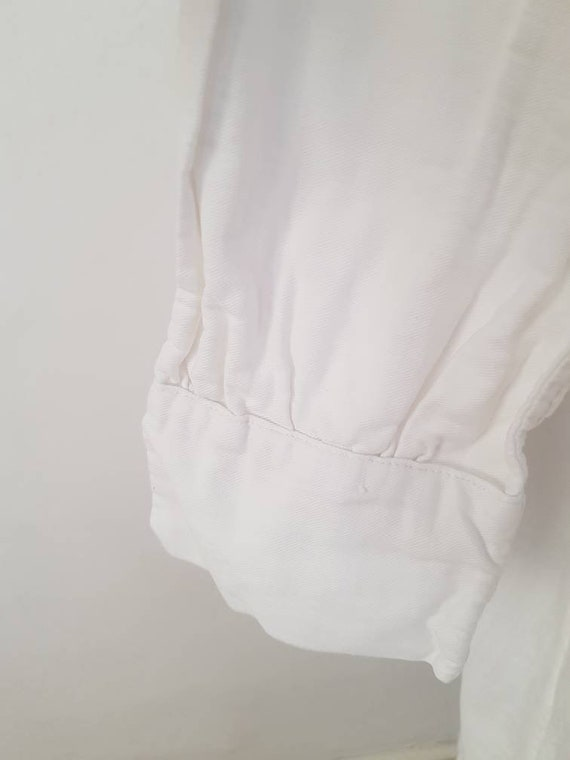 Antique French White Cotton Nightgown Shirt - image 4
