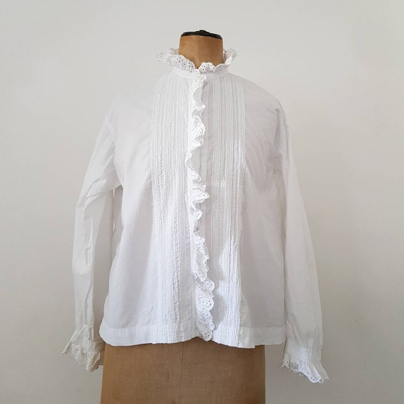 Antique French White Cotton Blouse Embroidered Pin