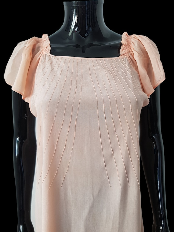 1930s French peach silk dress Flutter Sleeves - image 5