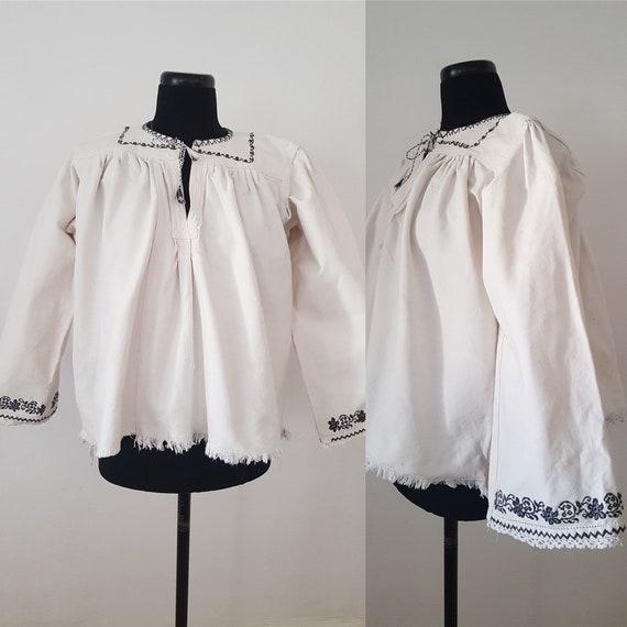 1940s Hungarian Homespun Linen Folk Blouse Smock B