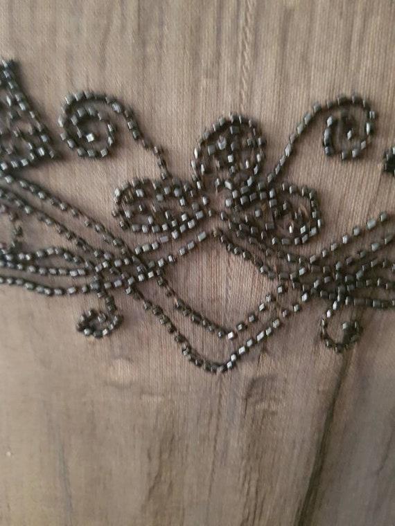 1920s Sheer Black Silk Dress Beaded Tunic Slip XS - image 6