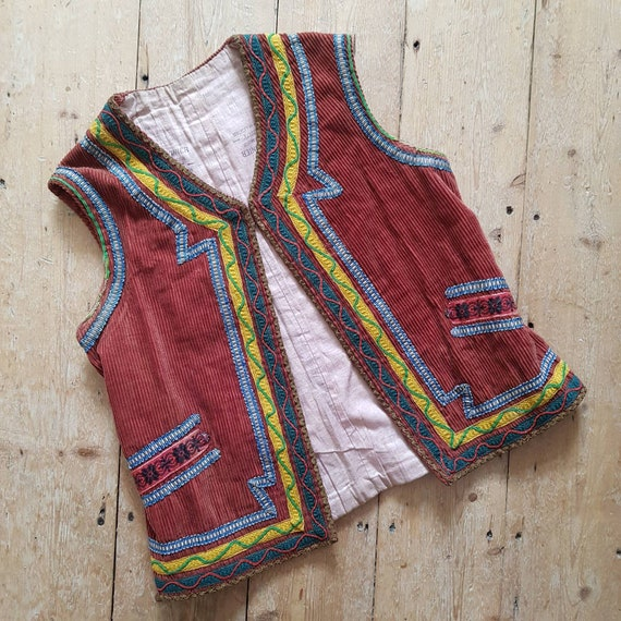 1930s French Theatre Costume Vest Corduroy Ribbon