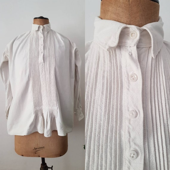 1930s Romanian Linen Smock Shirt Blouse Button Col