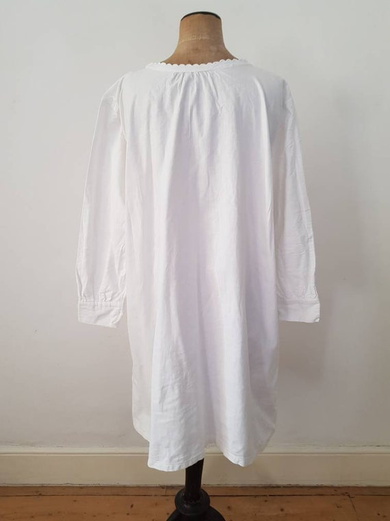 Antique French White Cotton Nightgown Shirt - image 2
