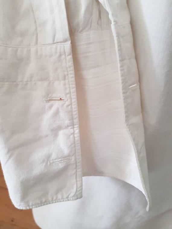 Antique French White Cotton Dress Shirt Long Line… - image 4