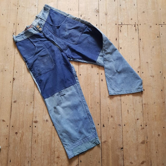 1940s French Blue Workwear Trousers Chore Pants P… - image 1