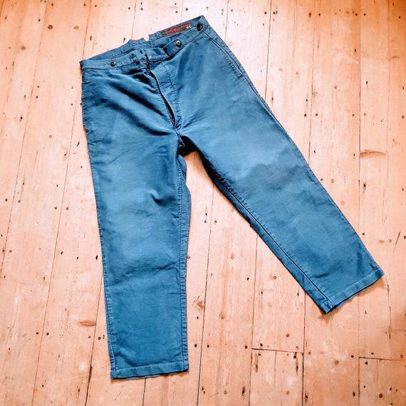 French blue moleskin workwear trousers chore pants