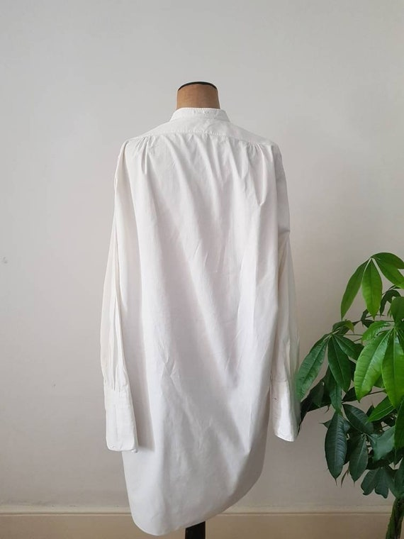 Antique French White Cotton Dress Shirt Long Line… - image 7