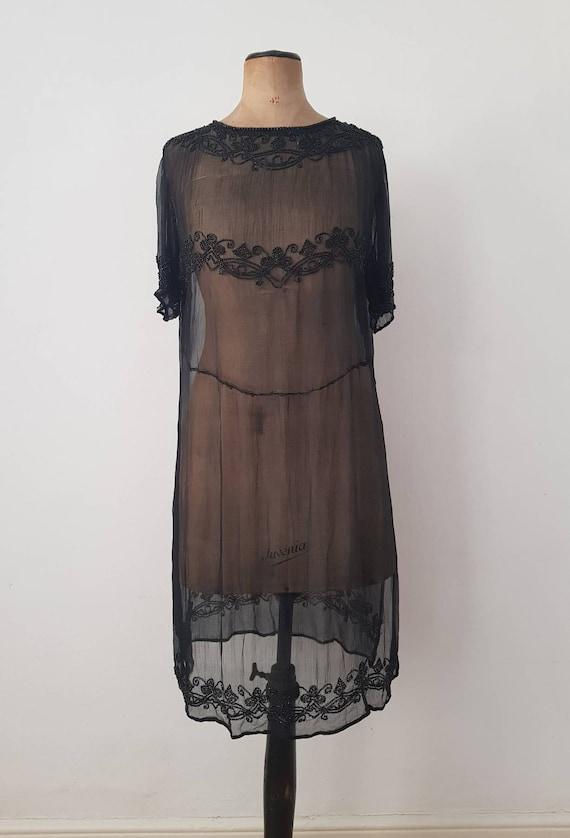 1920s Sheer Black Silk Dress Beaded Tunic Slip XS