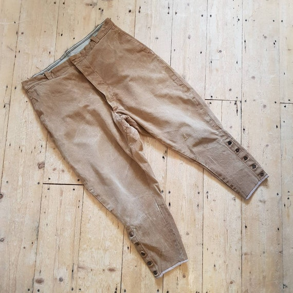 1930s -40s French Brown Canvas Workwear Breeches P