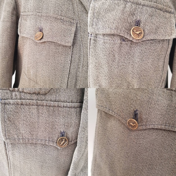 1930s French Hunting Jacket Animal Buttons Revere… - image 4