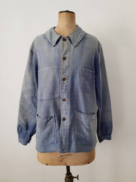 1930s - 40s French Blue Workwear Jacket Sun Fade R