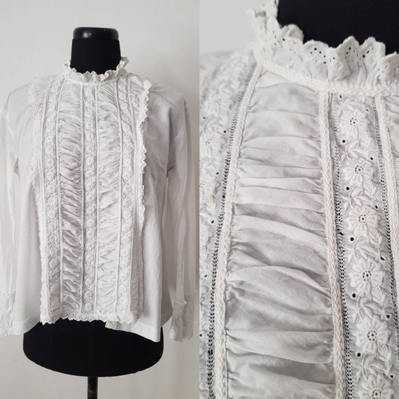 Antique French white cotton lace blouse early 1900