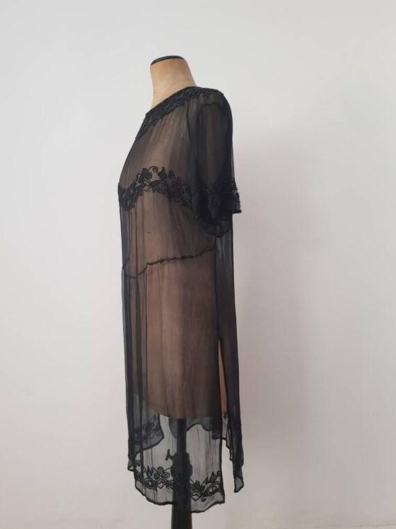 1920s Sheer Black Silk Dress Beaded Tunic Slip XS - image 2