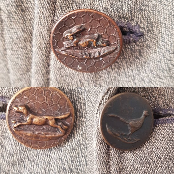1930s French Hunting Jacket Animal Buttons Revere… - image 5