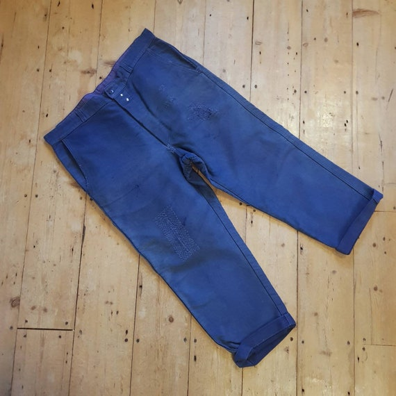 French Blue Moleskin Workwear Trousers Darned Repa