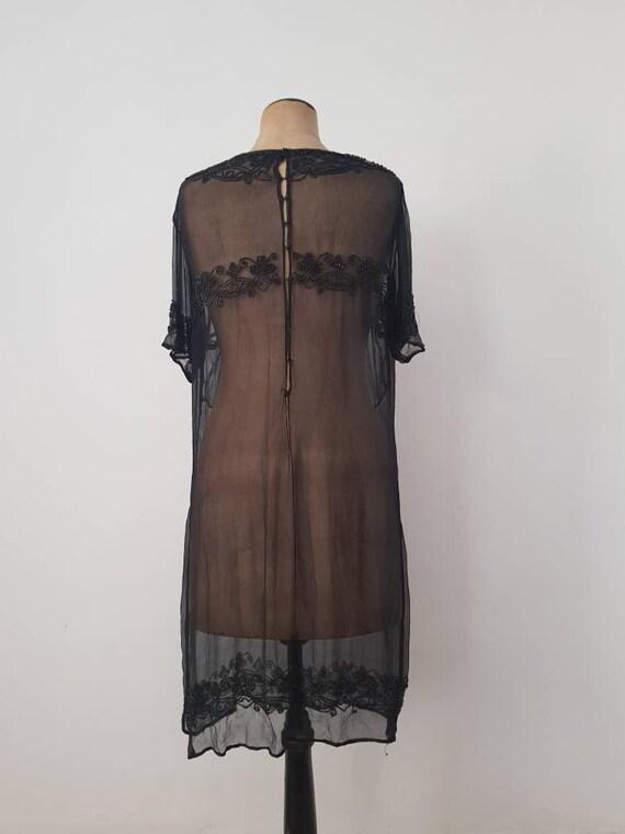 1920s Sheer Black Silk Dress Beaded Tunic Slip XS - image 10