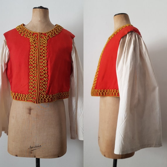 1920s -30s French Theatre Costume Jacket Red Wool
